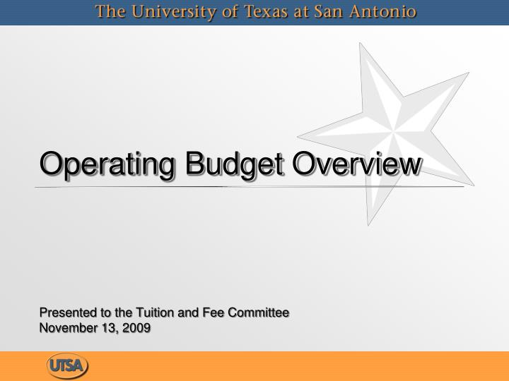 operating budget overview n.