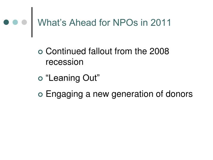 What's Ahead for NPOs in 2011