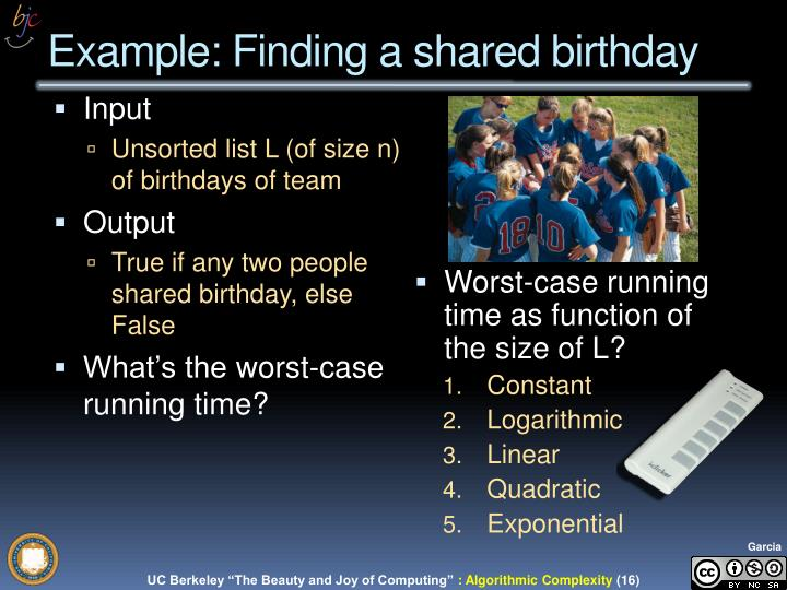 Example: Finding a shared birthday