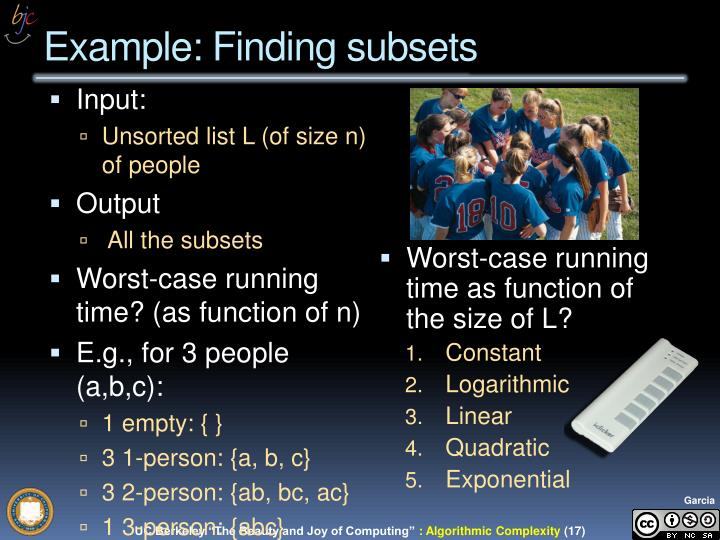 Example: Finding subsets