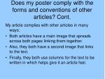 does my poster comply with the forms and conventions of other articles cont