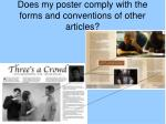 does my poster comply with the forms and conventions of other articles