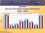 kansas service providing industry breakout 2000 2004