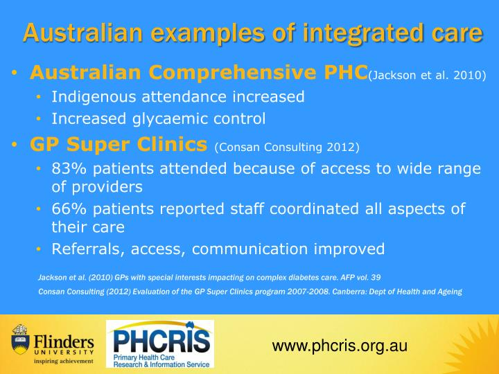 Australian examples of integrated care