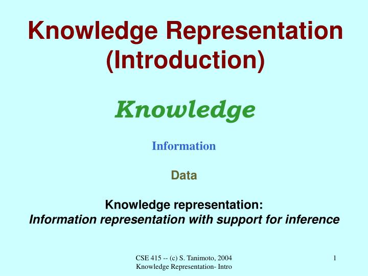 knowledge representation introduction n.