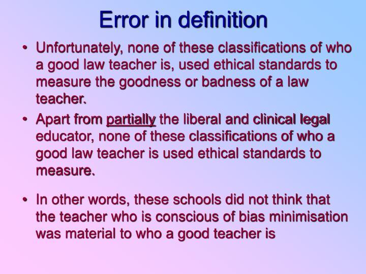 Error in definition