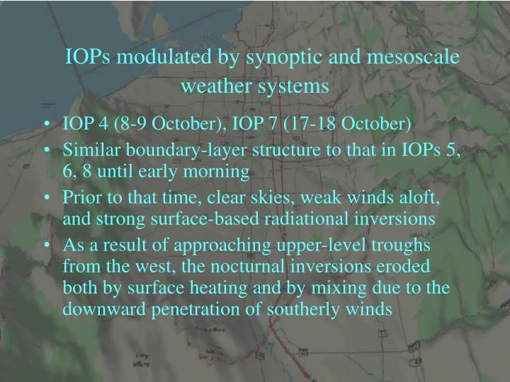 IOPs modulated by synoptic and mesoscale weather systems