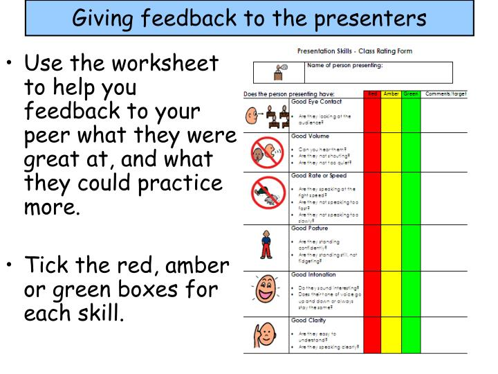 Giving feedback to the presenters