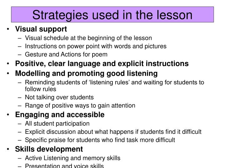 Strategies used in the lesson