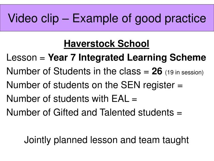 Video clip – Example of good practice
