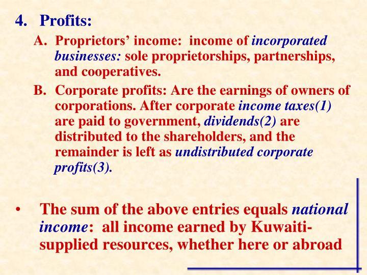Profits: