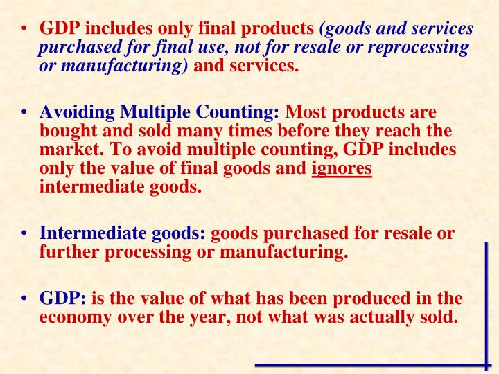 GDP includes only final products
