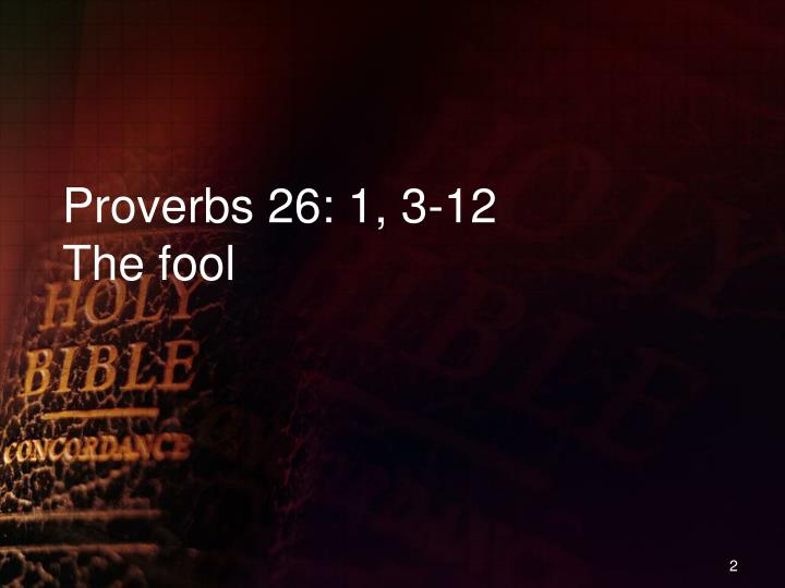 Proverbs 26 1 3 12 the fool
