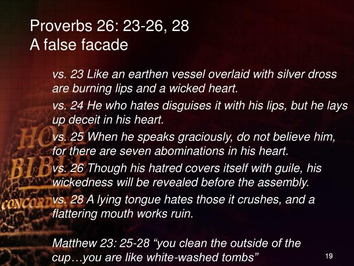 Proverbs 26: 23-26, 28