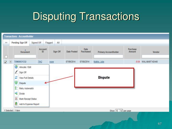 Disputing Transactions