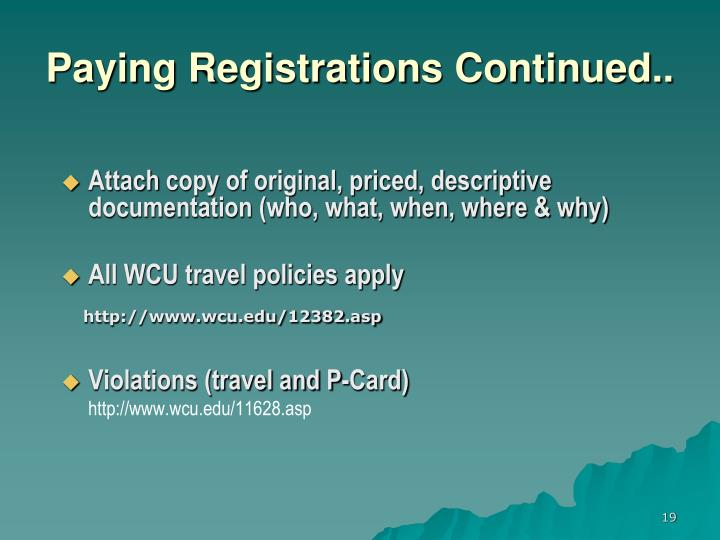 Paying Registrations Continued..