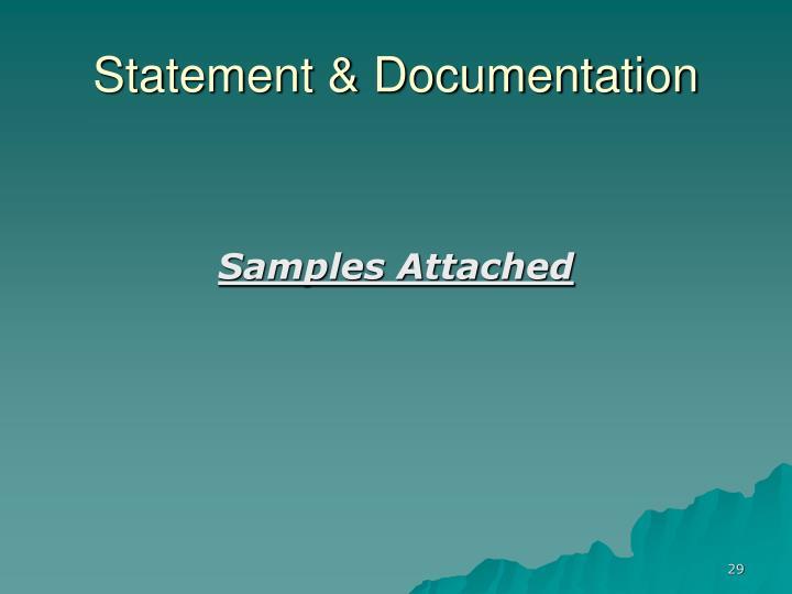 Statement & Documentation