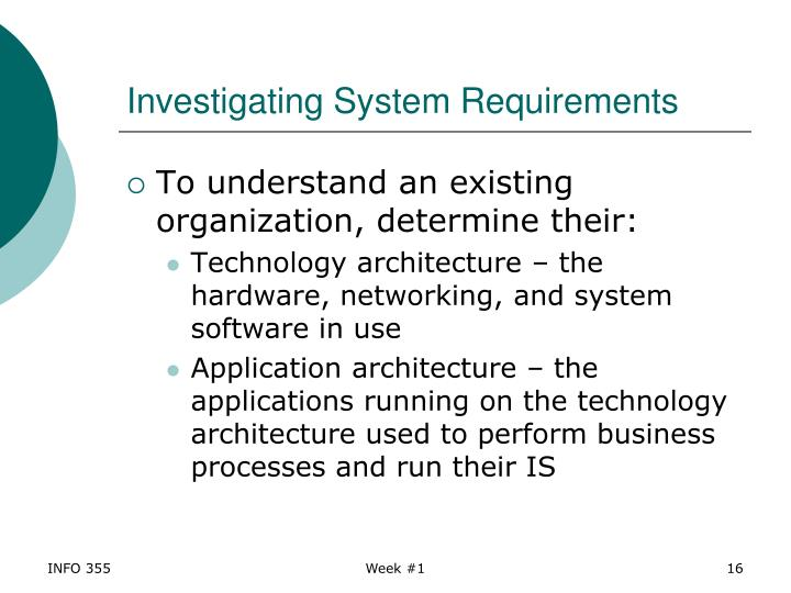 Investigating System Requirements