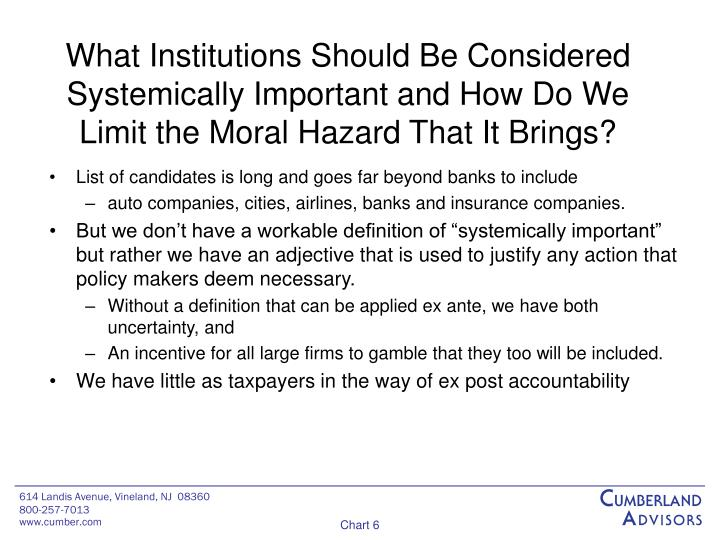 What Institutions Should Be Considered Systemically Important and How Do We Limit the Moral Hazard That It Brings?