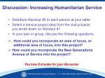 discussion increasing humanitarian service