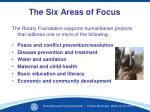 the six areas of focus1