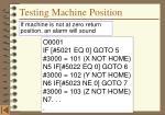 testing machine position