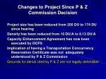 changes to project since p z commission decision