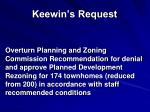 keewin s request