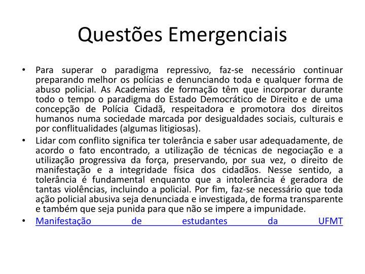 Questões Emergenciais