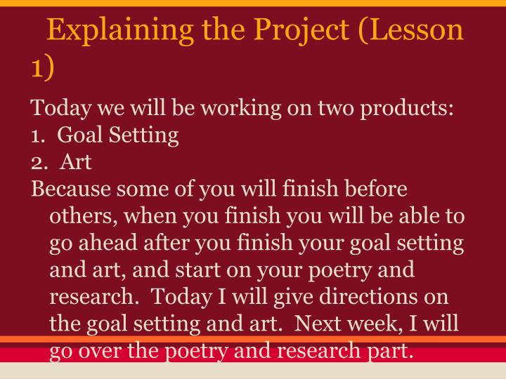 Explaining the Project (Lesson 1)