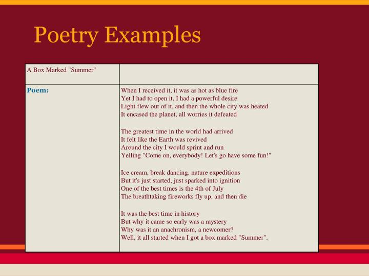 Poetry Examples