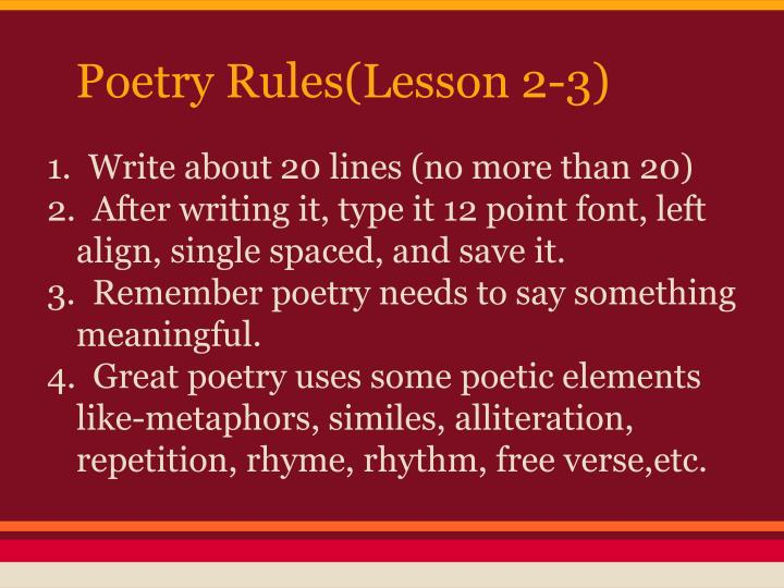 Poetry Rules(Lesson 2-3)