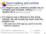 down casting and runtime