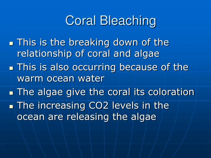 This is the breaking down of the relationship of coral and algae