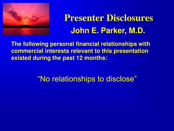 Presenter disclosures