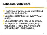 schedule with care