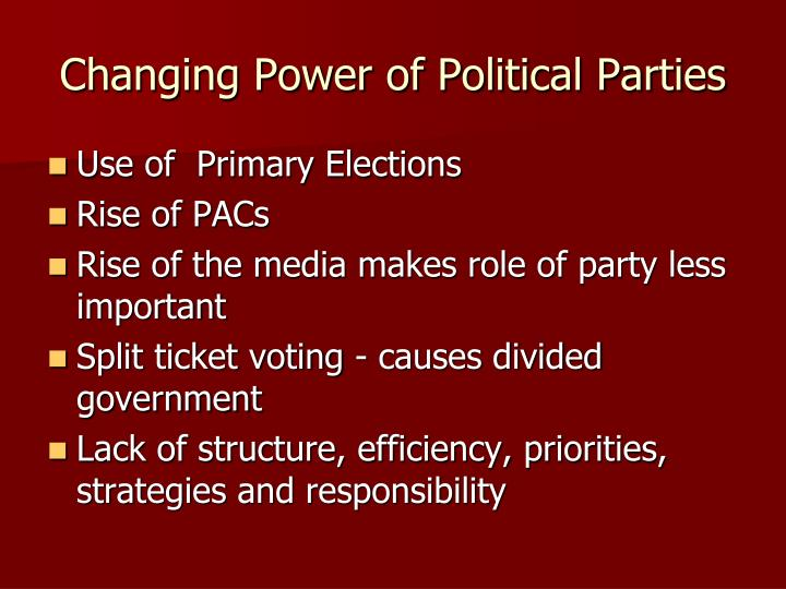 Changing Power of Political Parties
