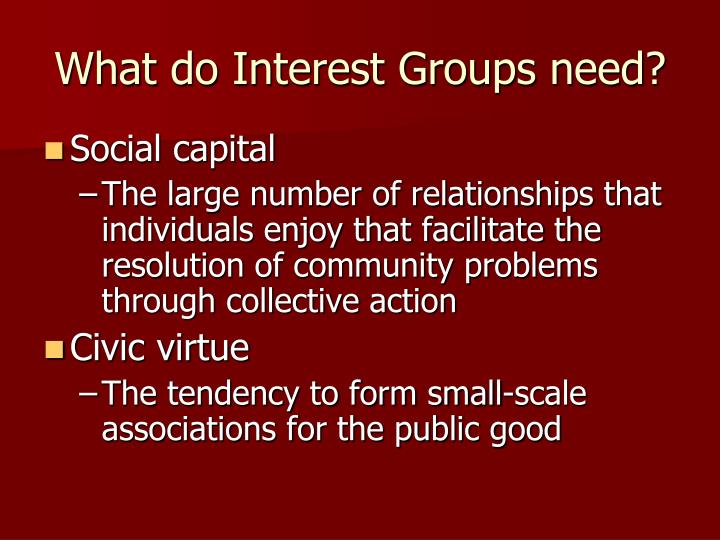 What do Interest Groups need?
