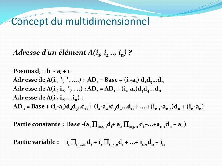 Concept du multidimensionnel