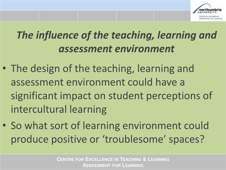 influences in the teaching environment Environment can increase academic teaching and teaching effectively if changing behaviors by changing the classroom environment.
