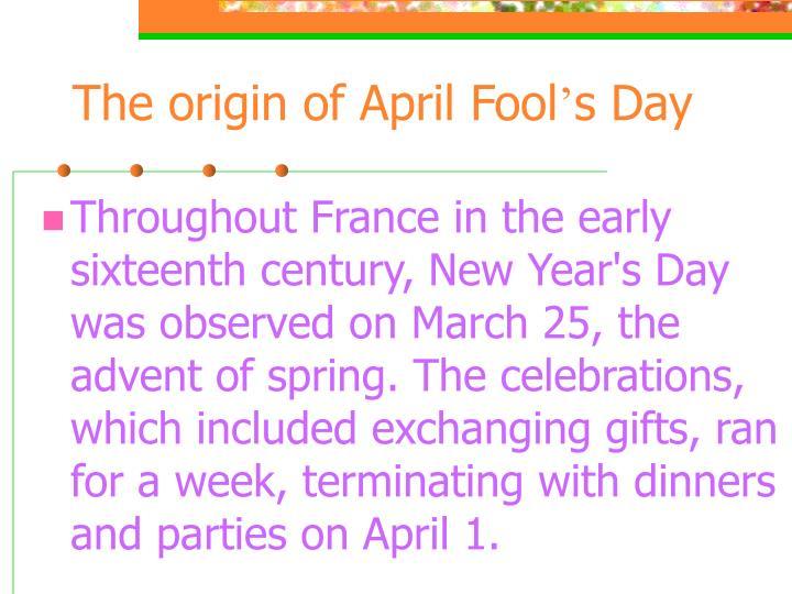 The origin of April Fool