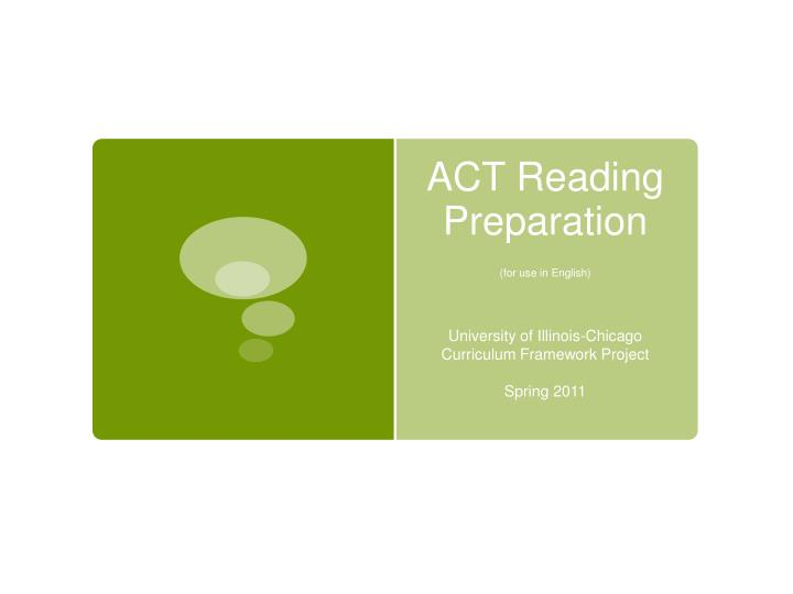 act reading preparation for use in english n.