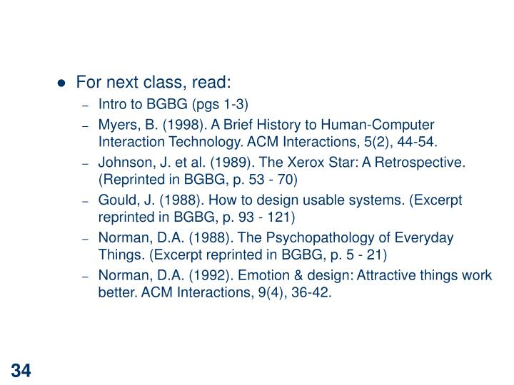 For next class, read: