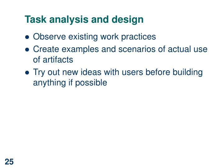 Task analysis and design