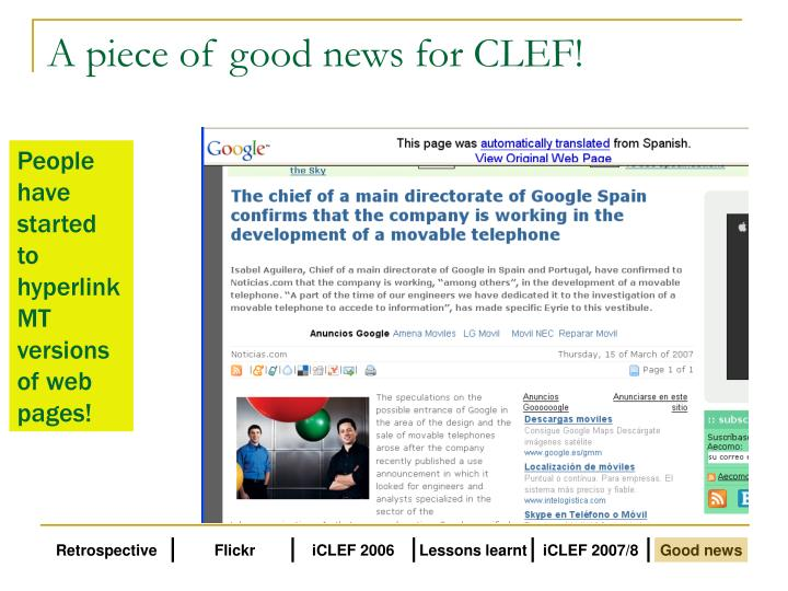 A piece of good news for clef