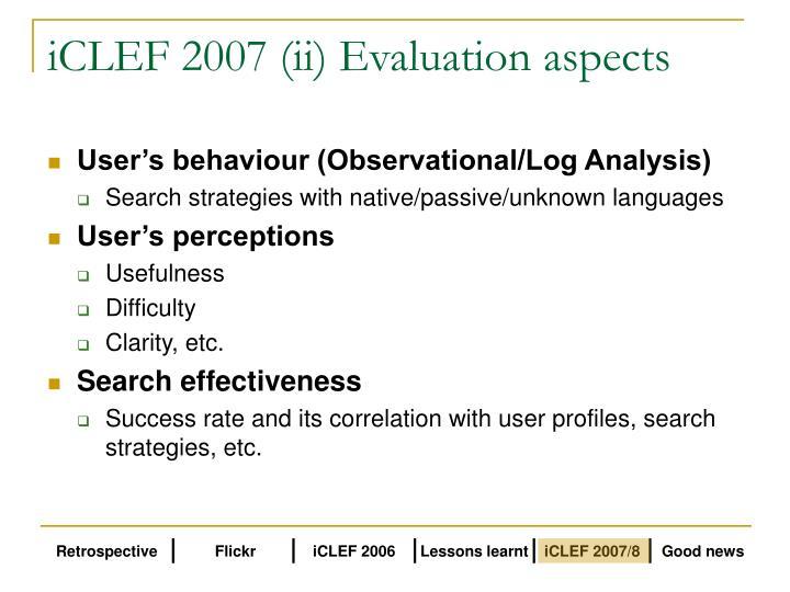 iCLEF 2007 (ii) Evaluation aspects