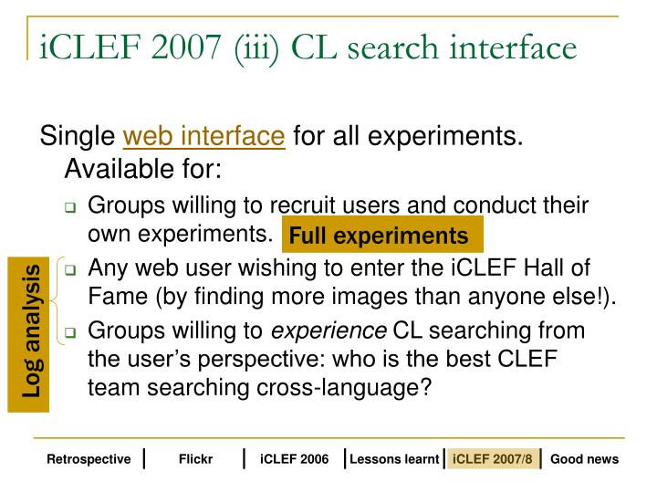 iCLEF 2007 (iii) CL search interface