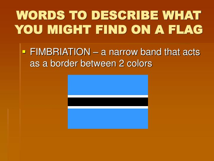 WORDS TO DESCRIBE WHAT YOU MIGHT FIND ON A FLAG