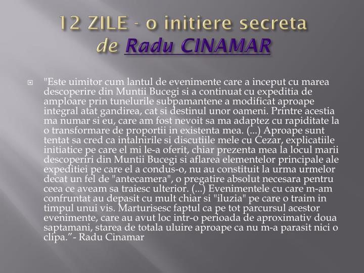 12 zile o initiere secreta de radu cinamar