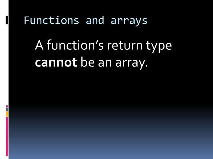Functions and arrays